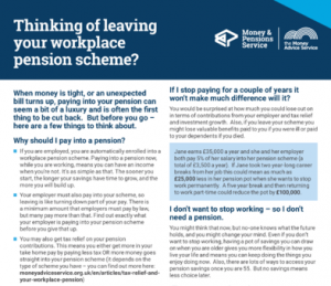 The Money Advice Service's guide on leaving your workplace pension scheme